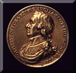 Picture of a coin depicting Cromwell