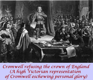 A Victorian representation of Cromwell refusing the crown of England