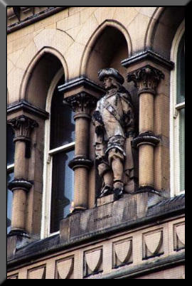 Close up of Cromwell's statue on Bradford City Hall